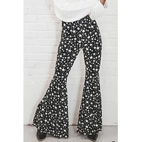 Light Of My Life Black Star Print Bell Bottoms