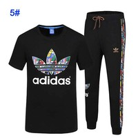 ADIDAS Fashion Long Pants With Tee Shirt Two Piece Suit Multicolor Logo Stripe Black Suit