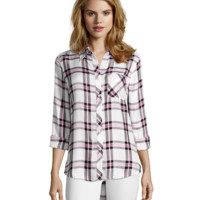 Wyatt Pink And Black Plaid Flannel Button Front Shirt | Bluefly