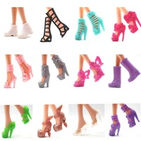 NK 12 Pair/Set Barbie Dolls Toys Fashion Shoes Doll Accessories Different Shoes For  Barbie Doll Toy Gift Princess hotsale DIY