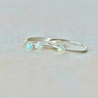 Teal Opal Ring.  Sterling Silver Filled Opal Ring.  Stacking rings.  Everyday wear silver ring.