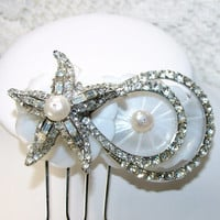 Starfish Hair Comb Rhinestone Headpiece Beach Wedding Hair Accessories Mother Of Pearl Shell Freshwater Pearls Vintage Jewelry Accessory