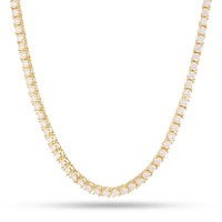 3mm, 14k Gold Single Row CZ Tennis Necklace