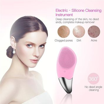 Mini Electric Facial Cleansing Brush Silicone Sonic Face Cleaners Deep Pore Cleaning Skin Massager 4 Colors FREE SHIPPING