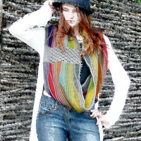 Rainbow infinity knitted scarf Crochet circle scarf Colorful neck warmer Cowl scarf Waves scarf Multicolor gift ideas for women Gift for her