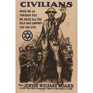 national JEWISH WELFARE BOARD WWI war enlistment poster HISTORIC 24X36 rare