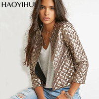 HYH HAOYIHUI 2018 Brand New Spring Style Vogue Lozenge Women Gold Sequins Jackets Three quater sleeve Fashion Coats Outwears