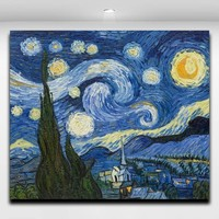 Van Gogh Starry Sky Works Oil Painting Canvas Prints Mural Art Picture for el Office Home Living Wall Decor
