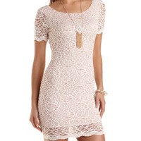 Low-Back Bodycon Lace Dress by Charlotte Russe - Blush