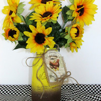 Sunflower mason jar, painted mason jar, rustic wedding, decorated mason jar, centerpiece, bridal shower, housewarming gift, country decor