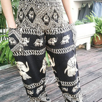 Black Elephants Pants Baggy Boho Style Print Hippies Massage Gypsy Thai Pantalon Tribal Plus Size Rayon Fabric Aladdin Clothing Beach Baggy