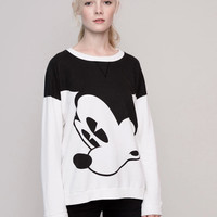 Black And White Mickey Mouse Print Sweater