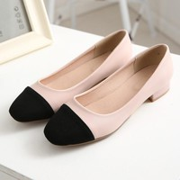 Japanese sweet dating style personality square toe loafers comfortable color matching slip pink gold black flat women shoes