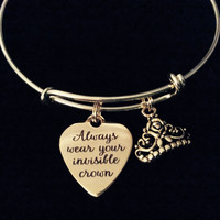Gold Always Wear Your Invisible Crown Expandable Charm Bracelet Adjustable Bangle Inspirational Tiara