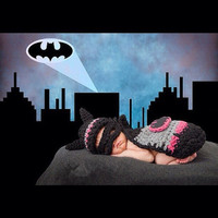 2015 Newborn Baby Girls Cute Crochet Knitted Baby Photography prop Colorful BATMAN Hat Mask Cape Cover Sets clothes costume outfits