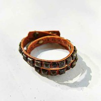 Stud + Stone Wrapped Leather Bracelet - Brown One