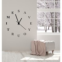 Vinyl Wall Decal Clock Phrase Words Save Your Time Home Decor Stickers Mural (g2705)