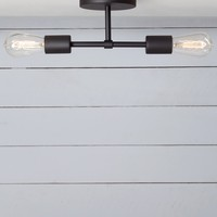 Double Matte Flat Black Semi Flush Mount - Ceiling Light