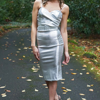 Miss Mary-Ann Pin Up Wiggle Dress in Silver
