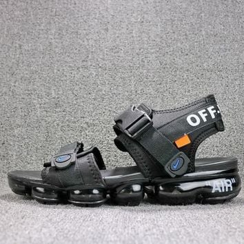 Off White x Nike Air VaporMax Sandals Triple Black Slides 850588-001 Flip Flops - Best Online Sale