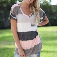 Casual Striped Short Sleeve T-Shirt Top