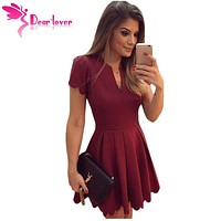 Dear Lover Princess Style A-line Mini Dresses to Parties Burgundy/White Sweet Short Sleeve Scallop Pleated Skater Dress LC22635