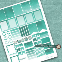 Blue Printable Planner Stickers, Turquoise Ombre Watercolor Planner Stickers, Life Planner Stickers, full box, planning - by LIZPLUMMER