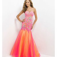 Blush 2014 Prom Dresses - Hot Pink & Yellow Strapless Embroidered Long Prom Gown