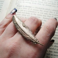 Feather Ring Antiqued Brass Double Finger Statement by IrinSkye