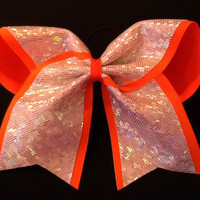 Silver Shatter Glass with Neon Orange Trim Cheer Bow Custom Cheer Bow 3 Inch Cheer Bow