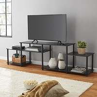 "Easy Setup No Tools Entertainment Center TV Stand up to 52"" Display Organizer"