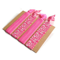 Elastic Hair Ties Hot Pink and White Damask Yoga Hair Bands