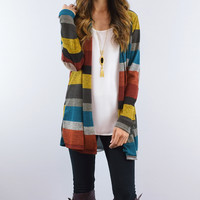 Burgundy & Yellow Stripe Open Cardigan