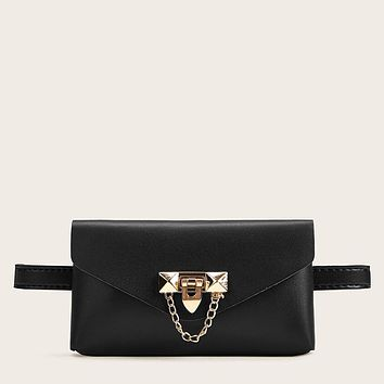Metal Chain Decor Fanny Pack