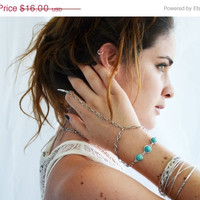 Labor Day Sale Slave Bracelet Hand Bracelet Hipster Silver Chain Horn Knuckle Brianne Silver Turquoise Midi Knuckle Ring Hand Boho Bohemian