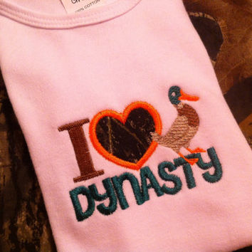 I heart Duck Dynasty custom Onesuit or toddler tee choose size made to order