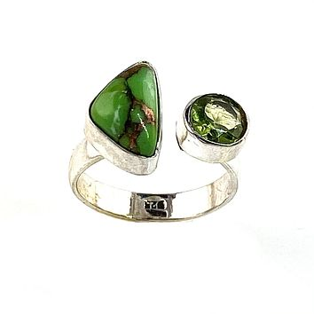 Green Copper Turquoise & Peridot Sterling Silver Adjustable Ring