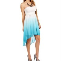 Pre-Order: White/Turquoise Ombre Dress