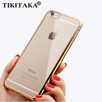 Luxury Ultra thin Plating TPU Silicone Flexible Soft Back Cover Case For Iphone 5 5S SE 6 6S 6 6S Plus Transparent Clear Cases