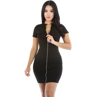 Short Sleeve Front Zipper Bodycon Dress