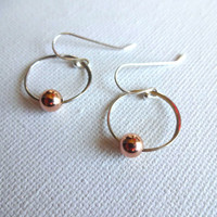 Handmade Mixed Metal 925 Sterling Silver Circle and 14k Rose Gold Fill Modern Earrings; Deconstructed Earrings; Modern Earrings For Her