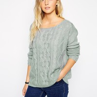 Brave Soul Cable Knit Sweater - Silver gray