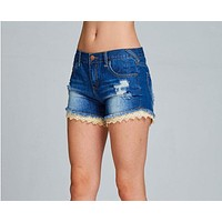 Crochet Trimmed Distressed Denim