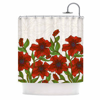 "Art Love Passion ""Poppy Field"" Red Beige Shower Curtain"