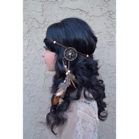 Brown Dreamcatcher Headband #A1010