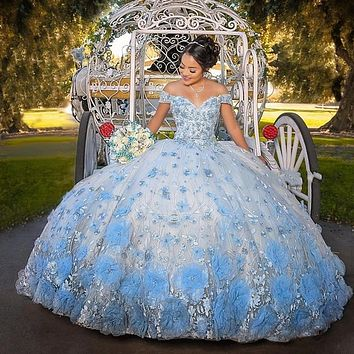 2021 Baby Blue Sweet 16 Quinceanera Dresses For Girls Luxury 3D Flowers Sweetheart Lace-Up Ball Gown Vestidos De 15 Años 2020