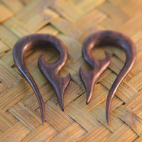 "2g Piercing Earrings, Pair of 1/4"" 6mm 2ga Gauges Earrings w Bali Tribal Carving Design, 2ga Wood Plugs Gauges Earrings"