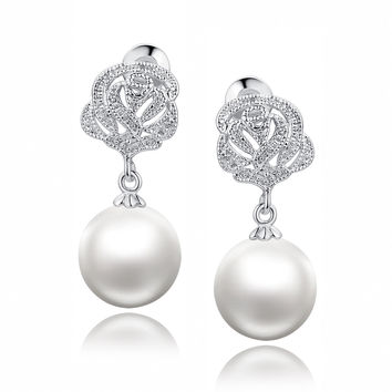Flora Design W. Shell Pearl and Cubic Zirconia Earrings