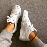 NIKE White Air Force One Low to Help Board Shoe