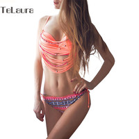 Brazilian Bikini Fringe Tassel Two Pieces Vintage Swimwear Bandage Women Bathing Suit Beach Retro Swimsuit Halter Biquini